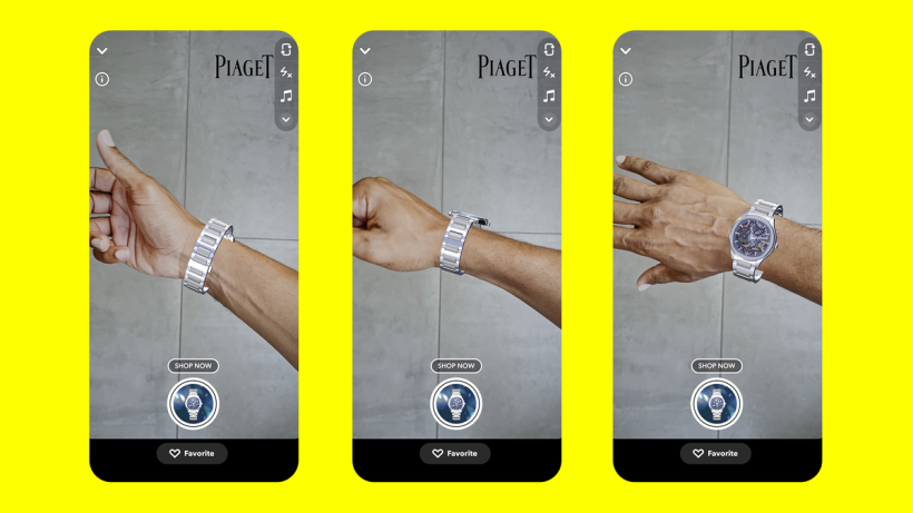 Snapchat new e-commerce offering for 'wrist-tracking', showcasing a Piaget watch through AR technology.